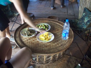Local snacks: Sweet mango, jelly sweets wrapped in leaves